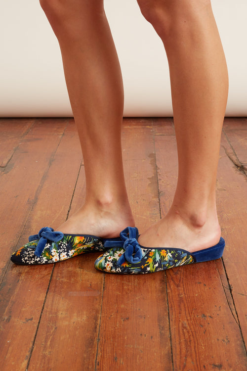 Daphne Bow Slipper in Ink Velvet + Le Cotton