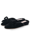 Daphne Bow Slipper in Black Velvet