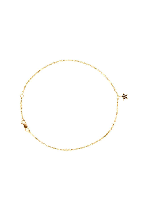Black Onyx Star Anklet in Gold