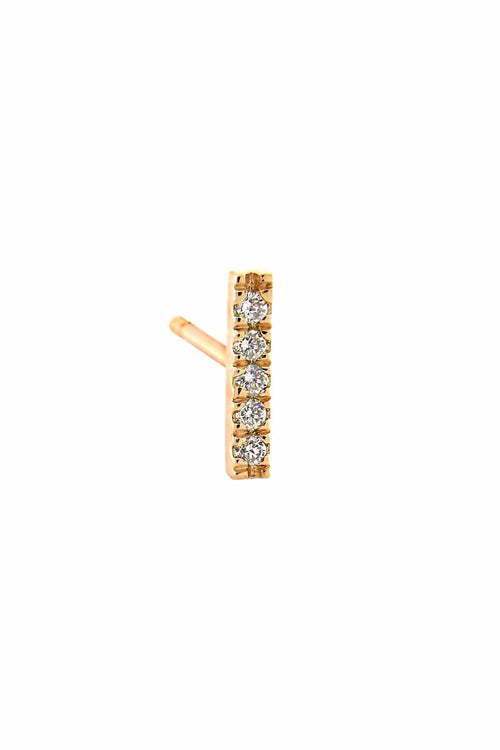 Diamond Bar Stud in Rose Gold