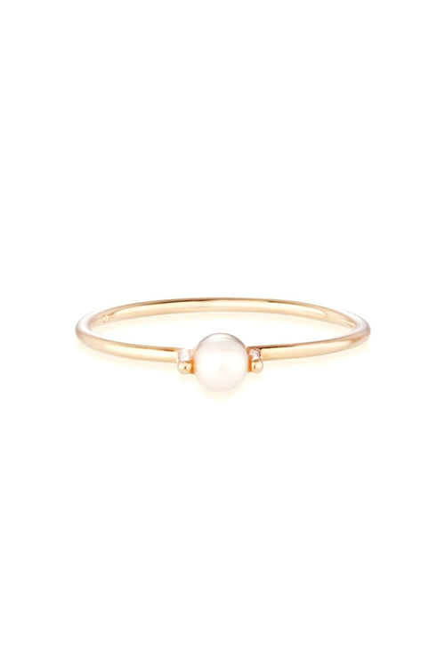 Pearl Bamboo Ring in Gold