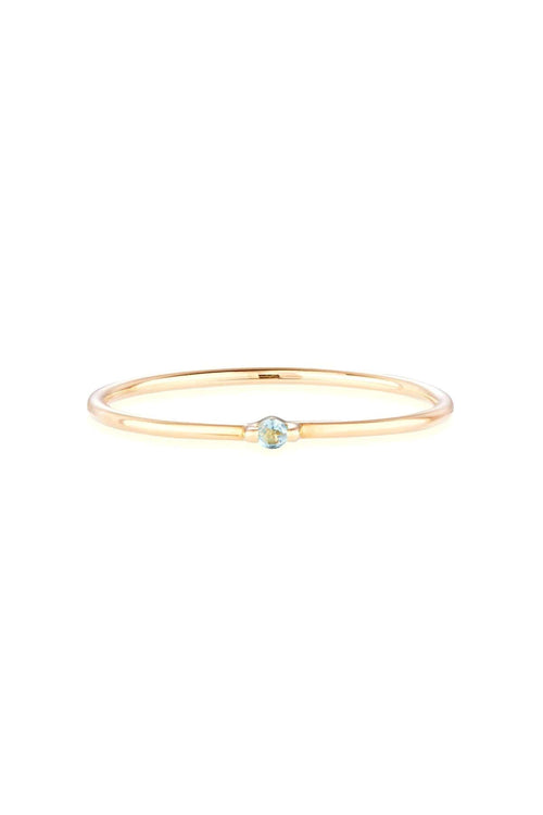 Swiss Blue Topaz Bamboo Ring in Gold