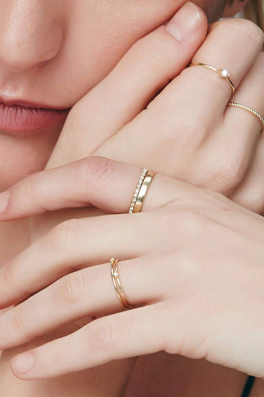 White Sapphire Half Eternity Ring in Yellow Gold