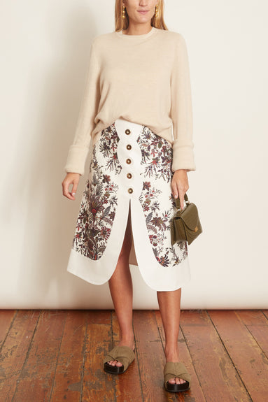 Floral A-Line Skirt in Ivory Paisley