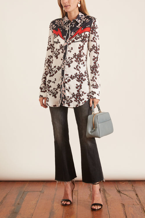 Floral Printed Satin Western Shirt in White Sakura