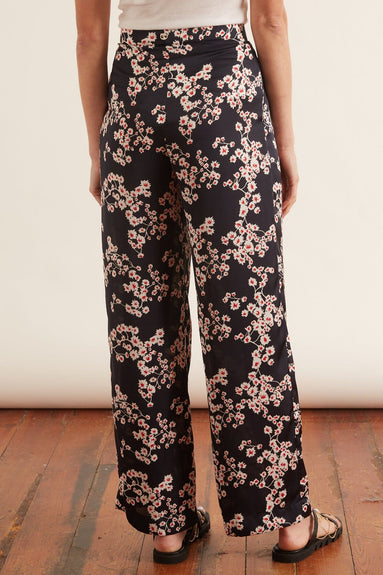 Printed Satin Pant in Black Sakura
