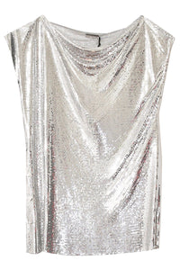 Drape Mesh Sleeveless Top in Silver