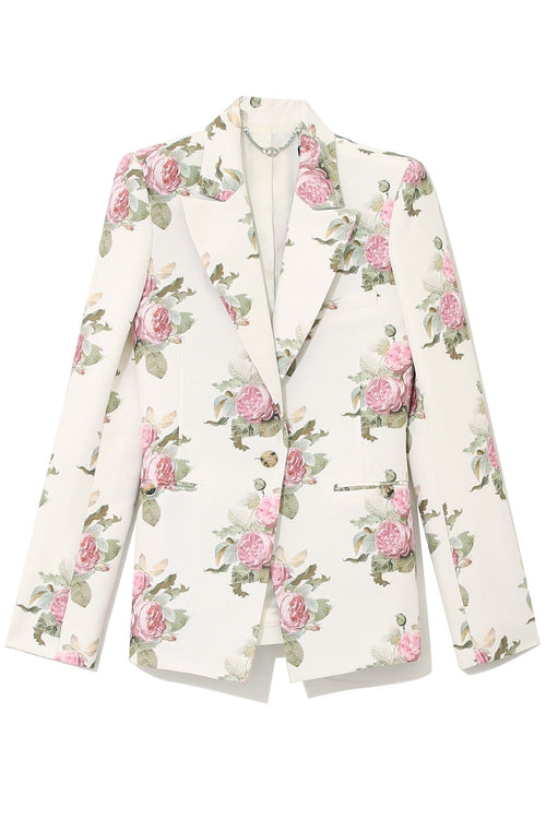 Floral Cotton Blazer in Light Beige Bouquet