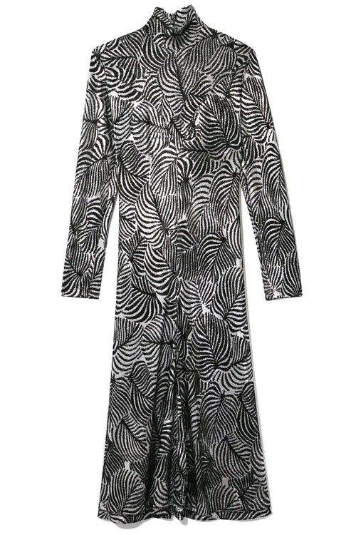 Leaf Lurex Turtleneck Dress in Silver/Black