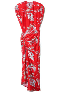 Side Knot Hawaiian Printed Dress in Red