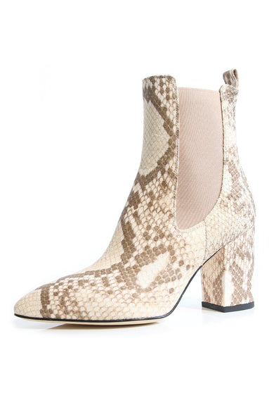 Faded Python Print Ankle Boot in Faded Milk