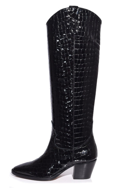 Moc Croco Patent High Camperos Boot in Black