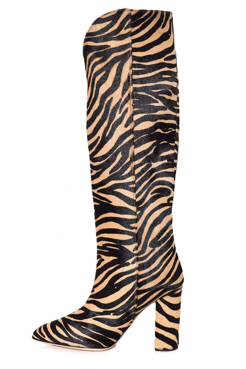 Pony High Boot with Rounded Edge in Beige Zebra