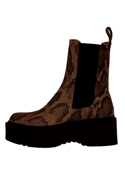 Python Print Beatles Platform Boot in Brown