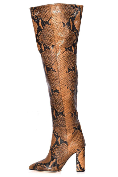 Snake Print Over The Knee Boot in Caramel