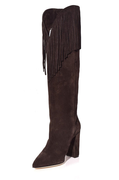 Velour Western Boot with Fringe in Dark Brown