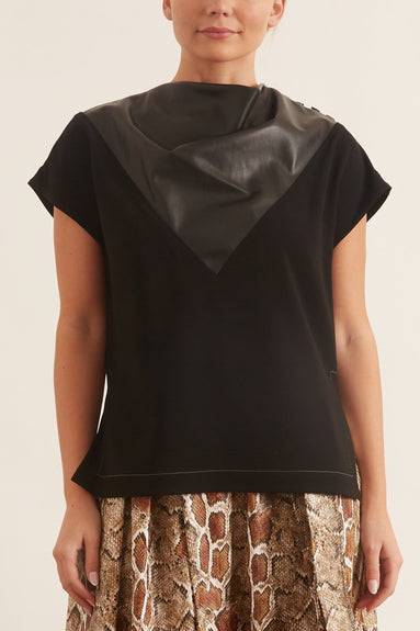 Crepe Top with Leather Inset in Black/Black