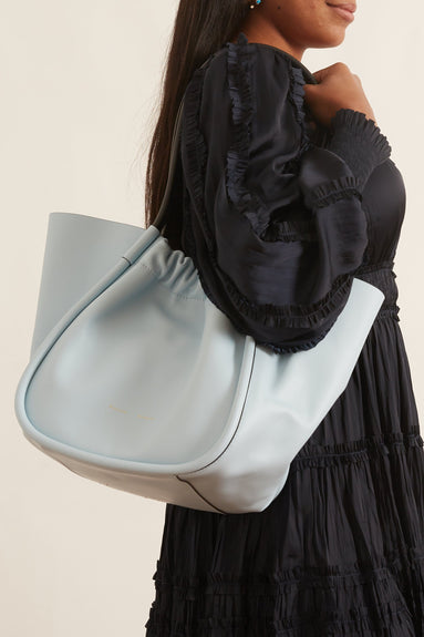 L Ruched Tote Bag in Baby Blue