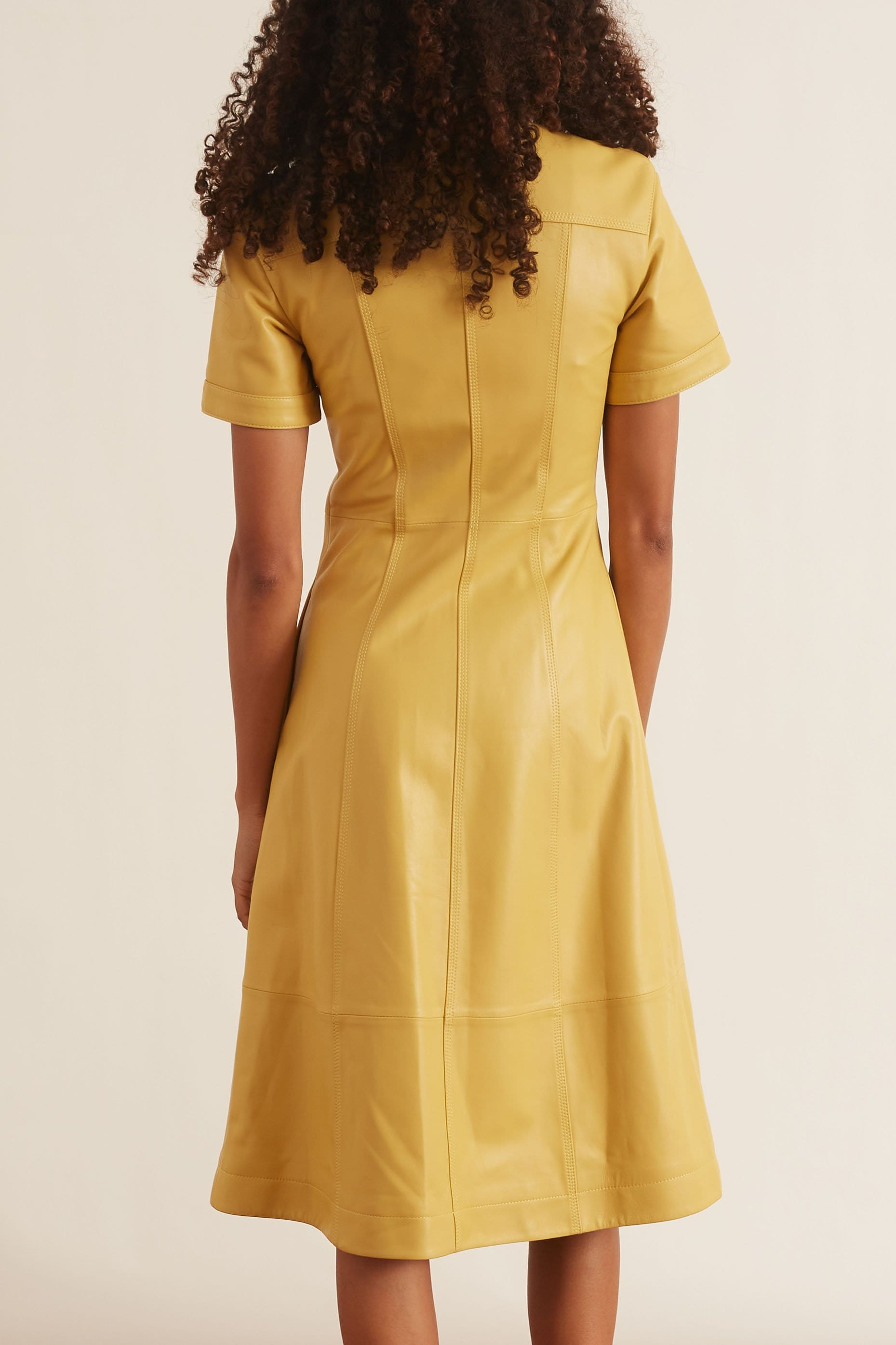Leather Shirt Dress in Citron