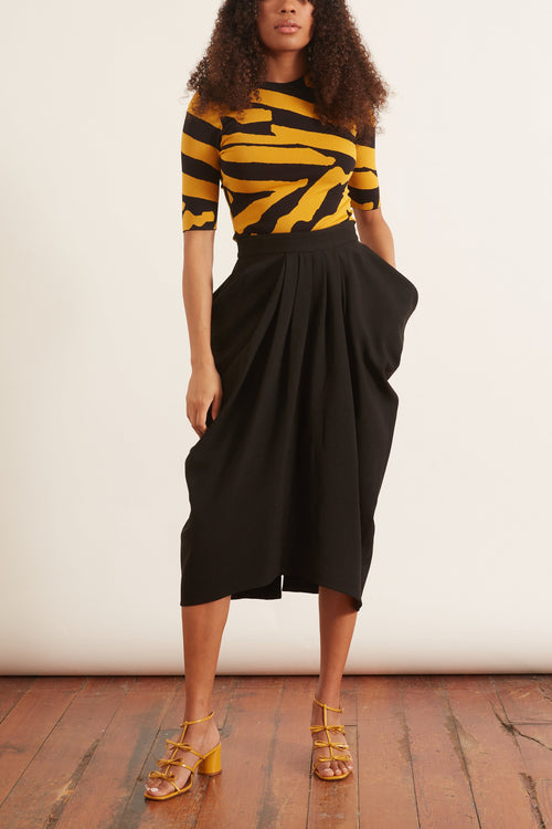 Lightweight Crepe Draped Skirt in Black