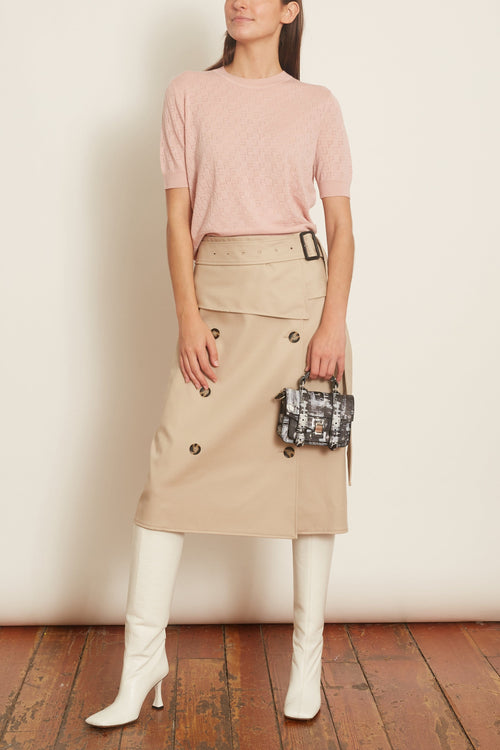 Logo Pointelle Pullover in Blush