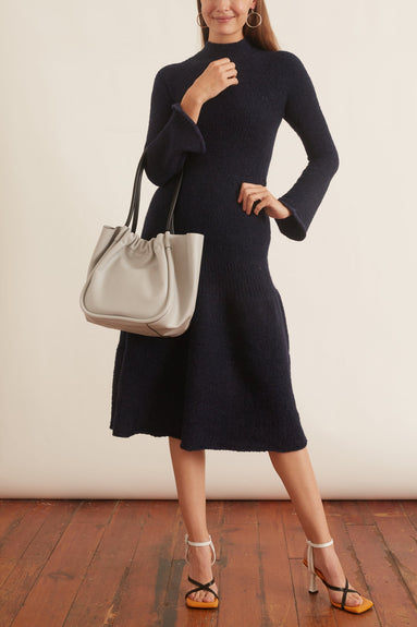 Long Sleeve Textured Knit Dress in Navy