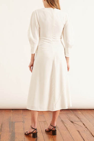 Matte Viscose Crepe Full Sleeve Dress in Off White