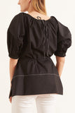 Poplin Full Sleeve Blouse in Black