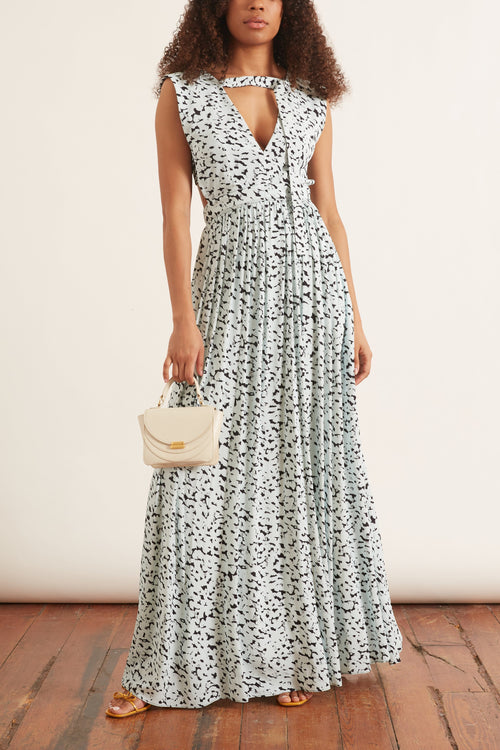 Printed Maxi Dress in Black/Sky Blue Inky Leopard