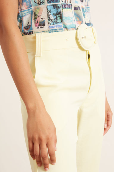 Rumpled Pique Belted Pant in Flax
