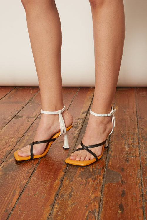 Sofia Sandal in Black/Bone/Marigold