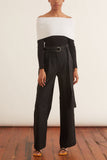 Stretch Suiting High Waisted Belted Pants in Black