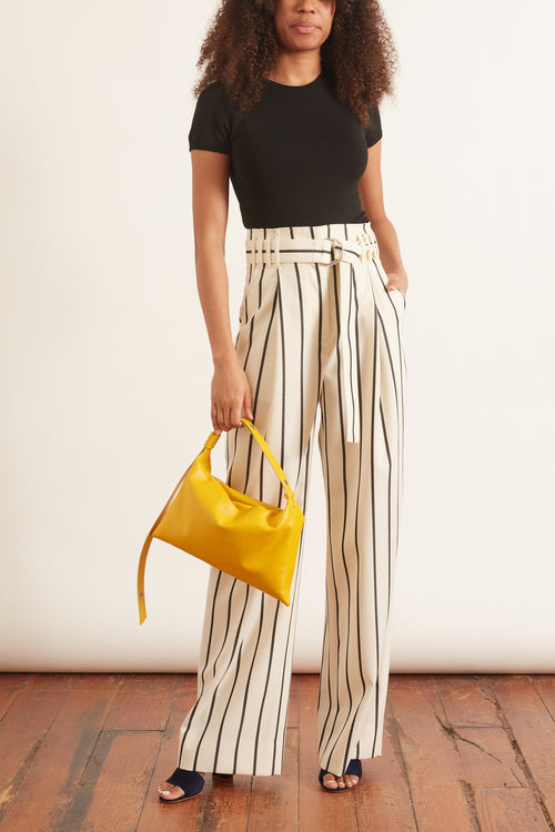 Striped Belted Pant in Off White/Black Pinstripe