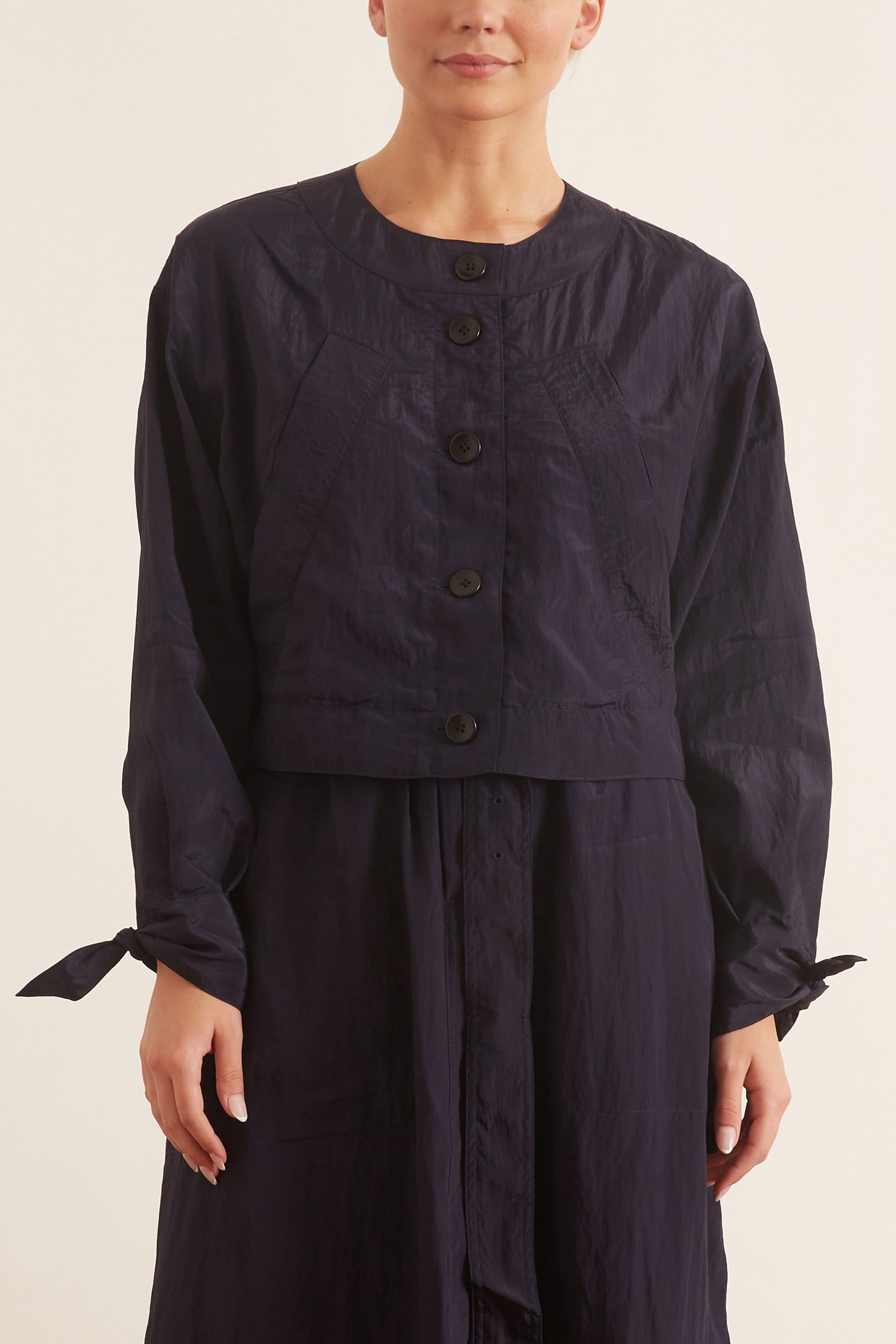 Textured Parachute Cropped Jacket in Navy
