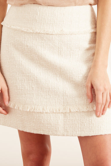 Textured Tweed Short Skirt in White