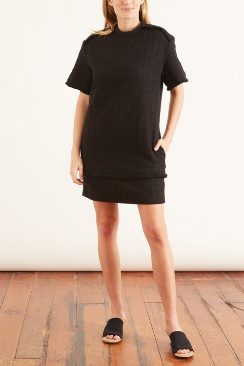 Textured Tweed T-Shirt Dress in Black