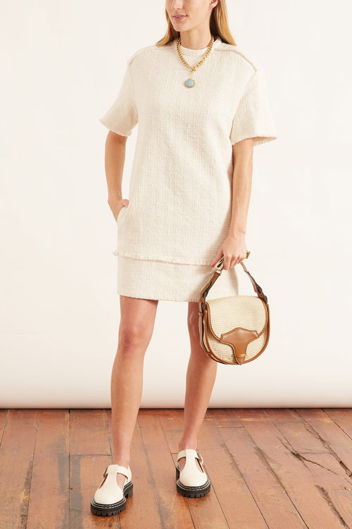 Textured Tweed T-Shirt Dress in White