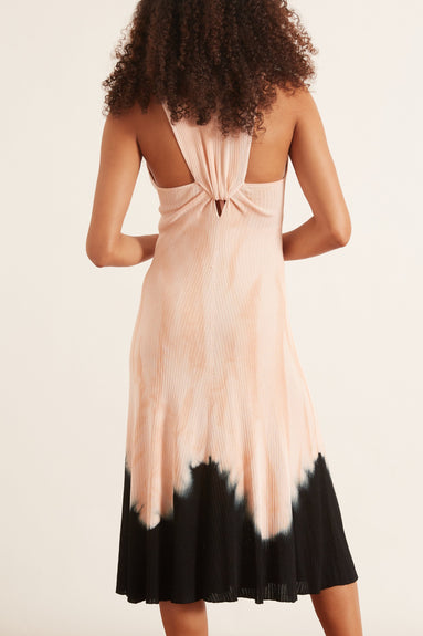 Tie Dye Sleeveless Knotted Back Dress in Dark Salmon/Black