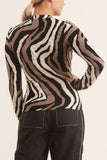 Zebra Jacquard Long Sleeve Top in Neutral/Blk/White/Grey