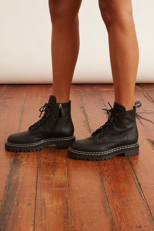 Combat Lace Up Boot in Black
