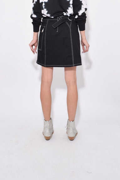 Asymmetrical Utility Pocket Skirt in Black