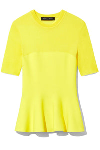 Banded Knit Top in Bright Yellow