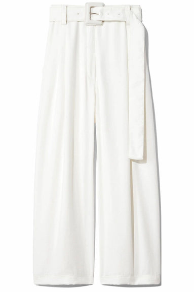 Belted Parachute Crepe Pant in Off White