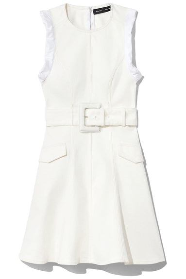 Belted Stretch Denim Suiting Dress in White
