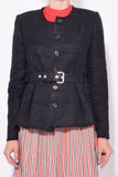 Belted Textured Tweed Jacket in Black