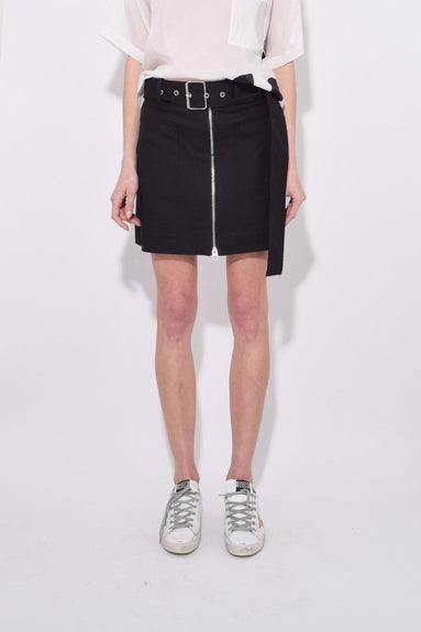 Belted Utility Cotton Twill Skirt in Black