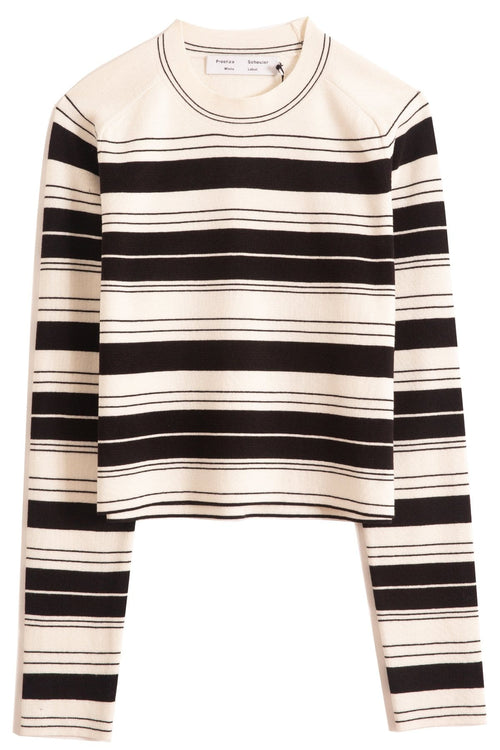 Compact Stripe Cropped Crewneck Pullover in Black/Off White