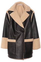 Faux Sherpa Reversible Coat in Natural/Black