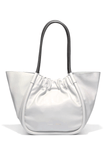 Large Ruched Smooth Calf Tote in Vapor