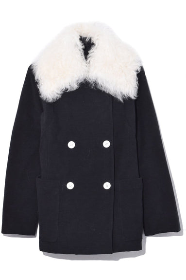 Oversized Shearling Collar Jacket in Black